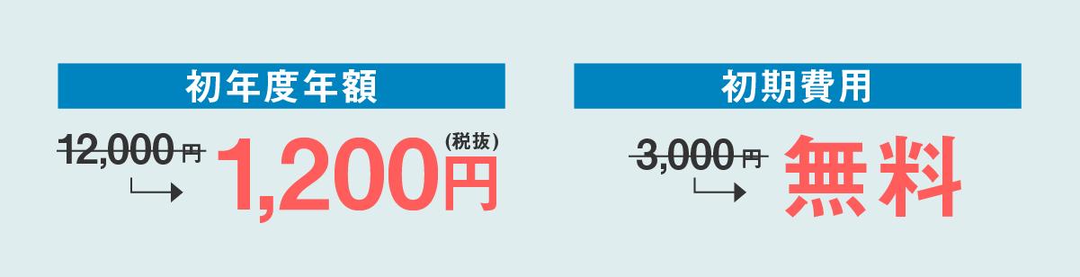 初年度年額1,200円(税抜)、初期費用が無料で使える。